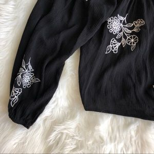 Chloe & Katie Tops - Chloe & Katie • Black Embroidered Crop Top